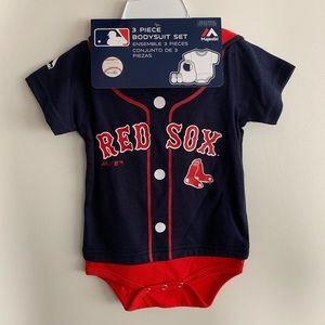 Red Sox 3-piece bodysuit set with booties and bib